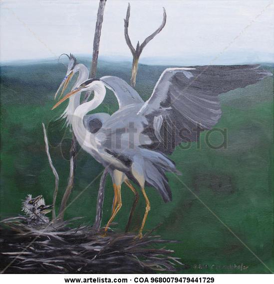 Grey herons family Animales Óleo Lienzo