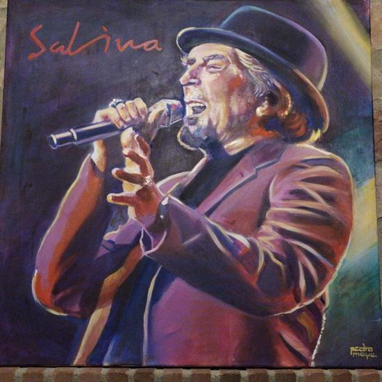 Joaquín Sabina en concierto  Retrato Óleo Lienzo