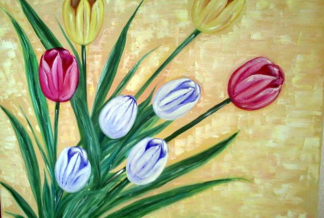 Tulipanes Floral Óleo Lienzo
