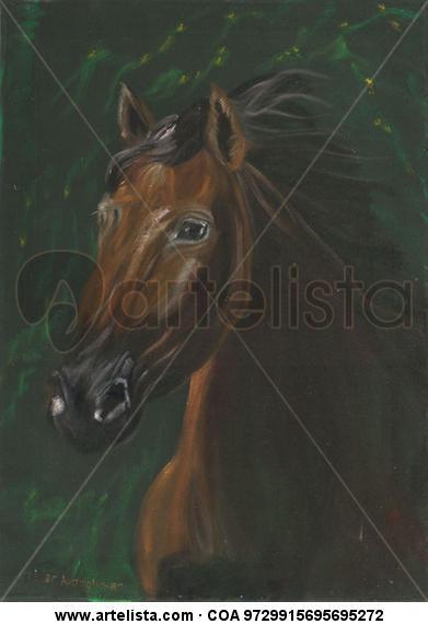 Brown horse portrait on green velvet Animales Óleo Tela