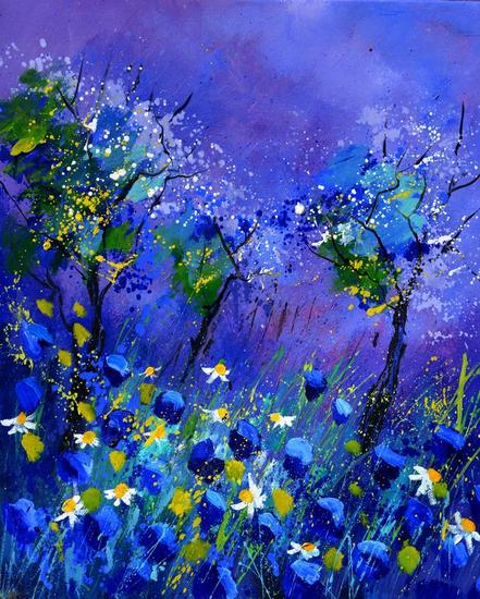 Blue flowers Canvas Oil Floral Painting