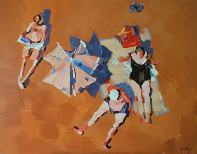 Miembros de una familia al sol Figure Painting Acrylic Panel