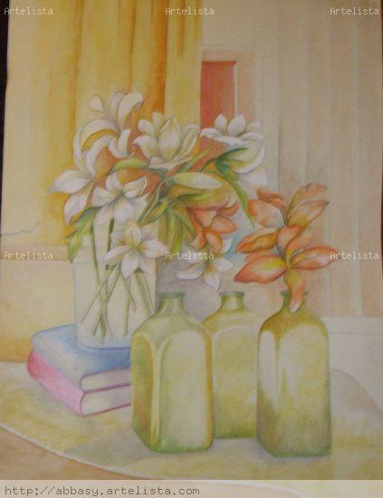 Iris a la luz Acuarela Papel Floral