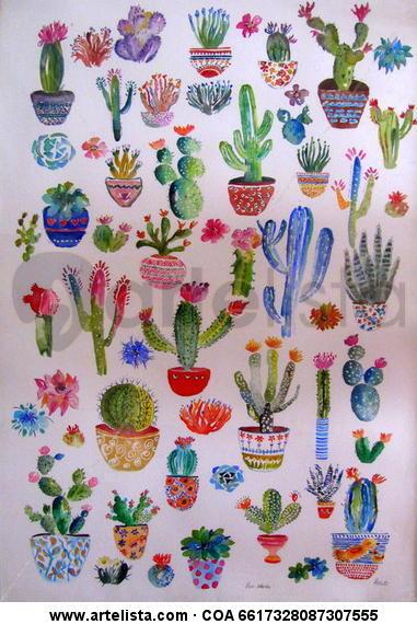 Póster de cactus Papel Acuarela Floral