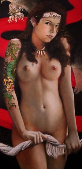 Joven del Dragón Lienzo Óleo Desnudos
