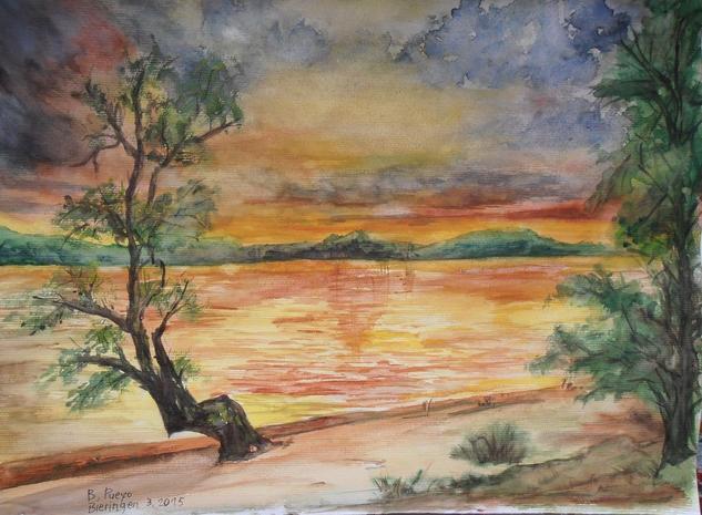 Reflejos en el lago Papel Acuarela Paisaje