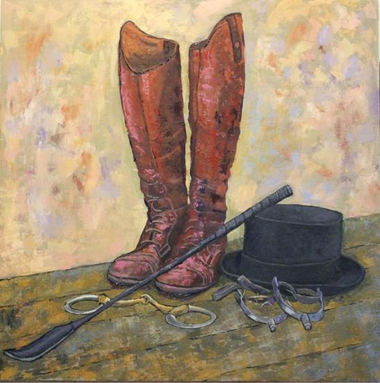 Boots. Panel Oil Still Life Paintings