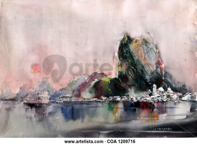 Tailandia- Isla Koh Panyee  Marina Acuarela Papel