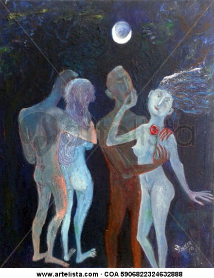.Moonlight Night  Lienzo Óleo Desnudos
