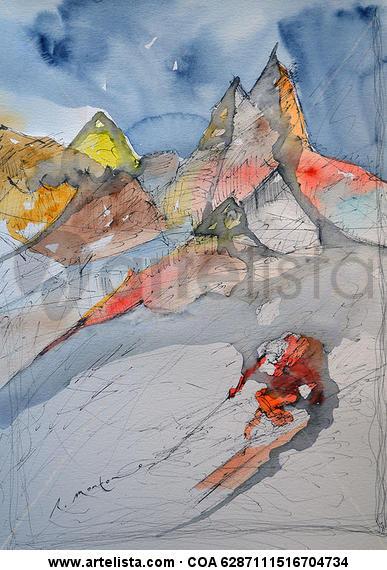 Esquiador y Montañas Cartulina Acuarela Deportes