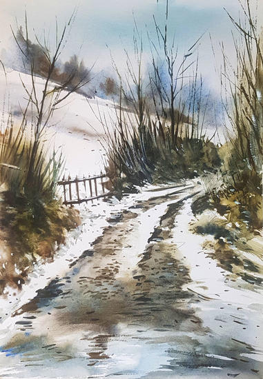 ambiente invernal Landscaping Watercolour Paper