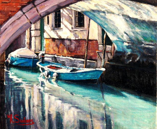 venecia.- barca azul
