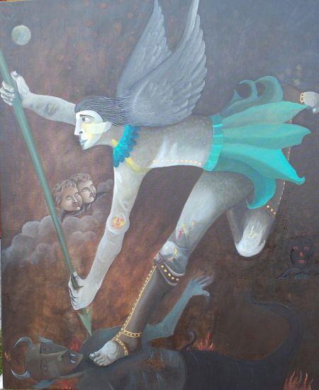 San Miguel Arcangel Óleo Lienzo Figura