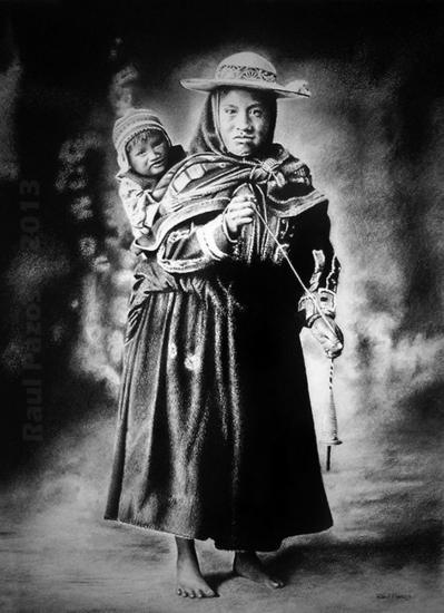 Campesina de Queromarca con niño Carboncillo