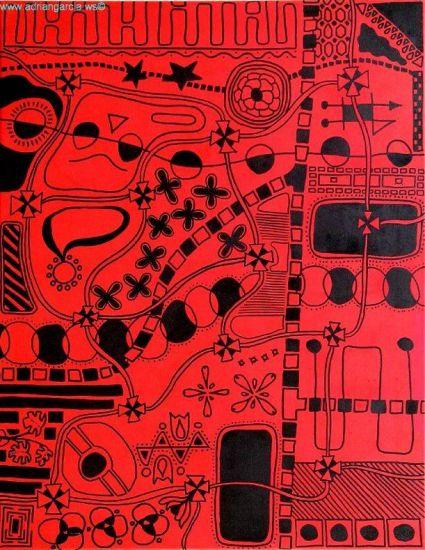 Universo en Color Rojo Rotulador Lienzo Otros