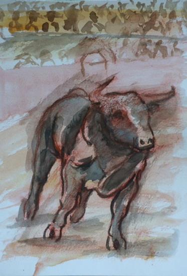 De toros y toreros, toro saliendo del chiquero