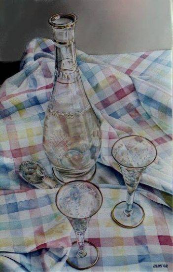 botella y dos copas