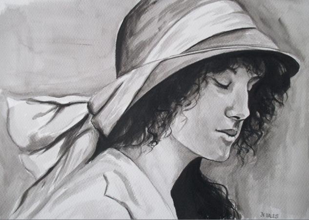 Mujer con sombrero. Papel Acuarela Retrato