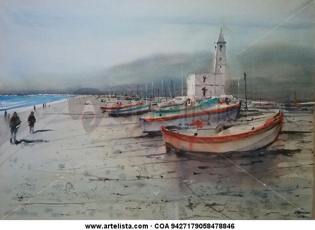 Cabo de Gata al atardecer Papel Acuarela Marina