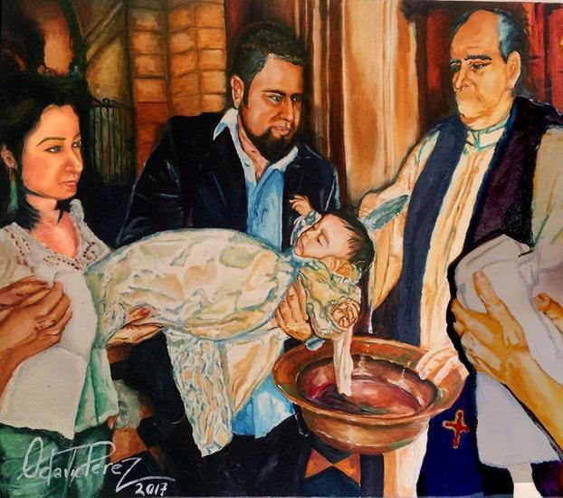 el bautismo Lienzo Óleo Retrato
