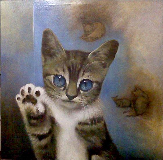 El Gato Animales Óleo Lienzo