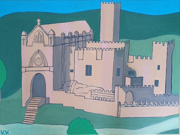 Castillo de Javier (Navarra) Paisaje Óleo Lienzo