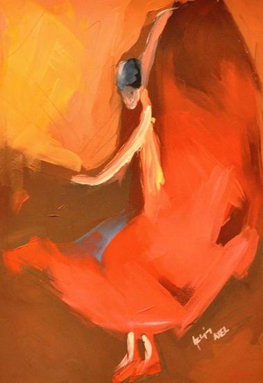 flamenco Cartulina Óleo Figura