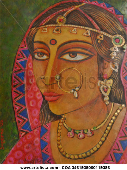 Indian Bride Papel Acrílico Retrato