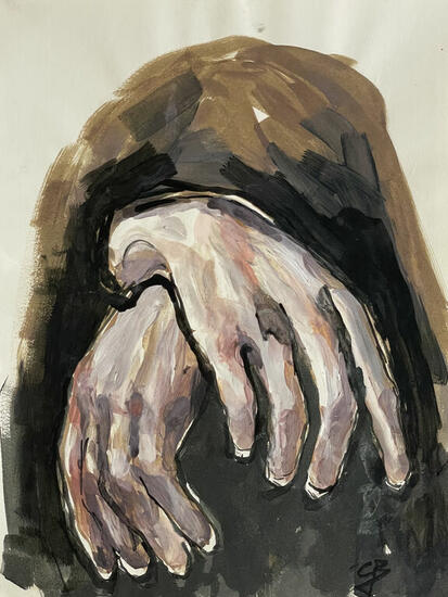 Hands Figure Painting Acrylic Paper