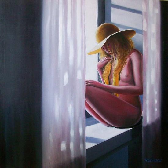 mujer en la ventana con pamela Tabla Óleo Desnudos