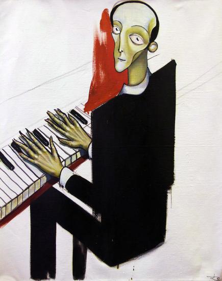 El pianista Retrato Óleo Tela
