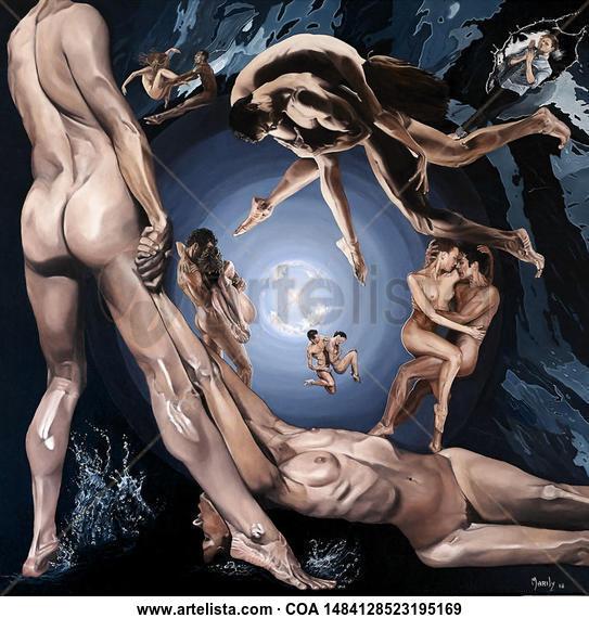 el rapto Desnudos Óleo Lienzo