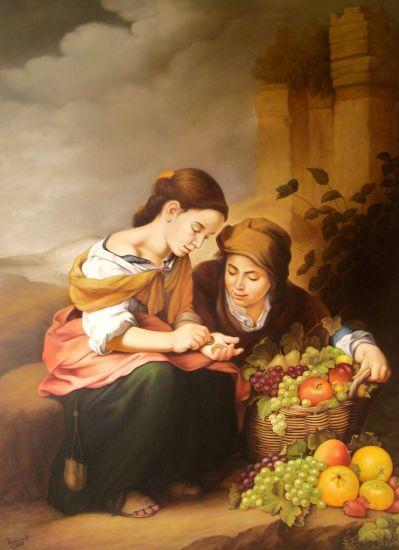 La Vendedora de frutas (Versión de Esteban Murillo) Canvas Oil Figure Painting