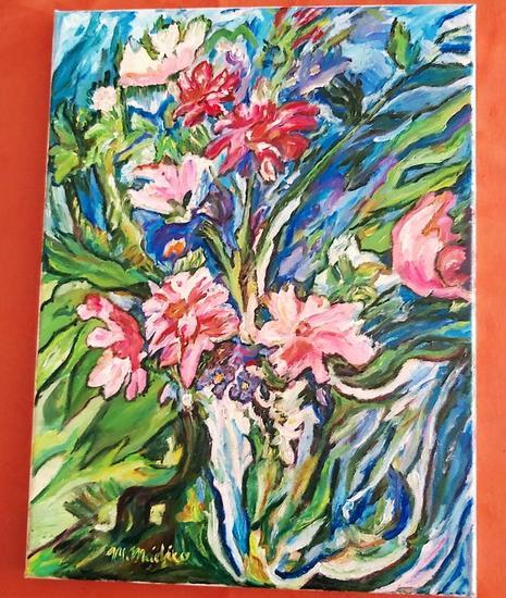 Bodegon jarron con flores Bodegones Óleo Tela