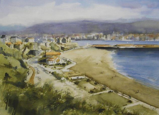 Playa vacía Marina Papel Acuarela