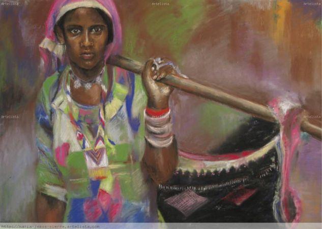 INDIA Pastel Tabla Retrato