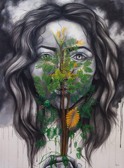 JIMECHI / Carbón ( conversaciones con la tierra) Retrato Acrílico Lienzo