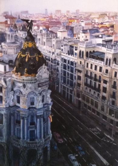 Madrid, Gran Vía Papel Acuarela Paisaje