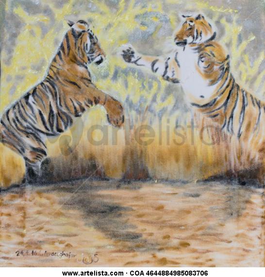 Two tigers fighting Animales Óleo Tela