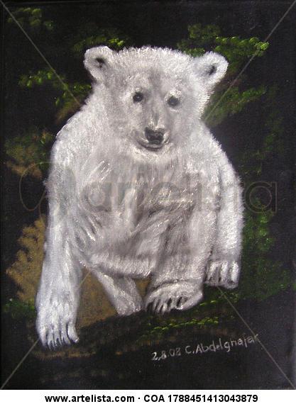 Young Ice bear Animales Óleo Tela