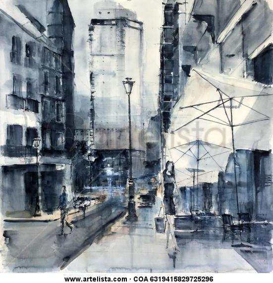 Calle Leganitos en Madrid Papel Acuarela Paisaje