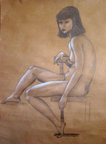 Desnudo suspendido Papel Lápiz (Negro) Desnudos