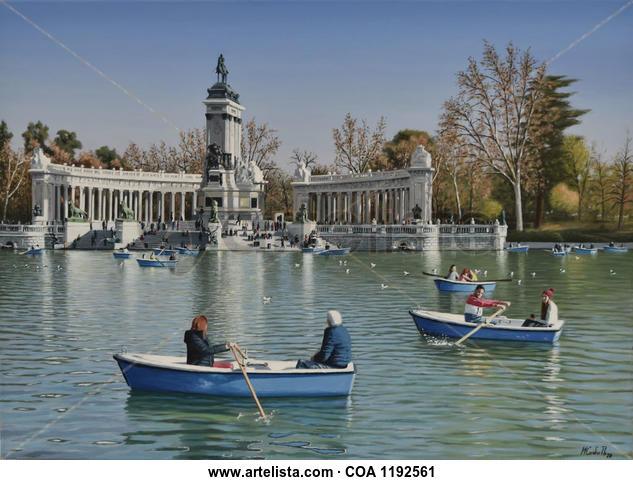 PARQUE DEL RETIRO DE MADRID, ESTANQUE GRANDE Paisaje Óleo Lienzo