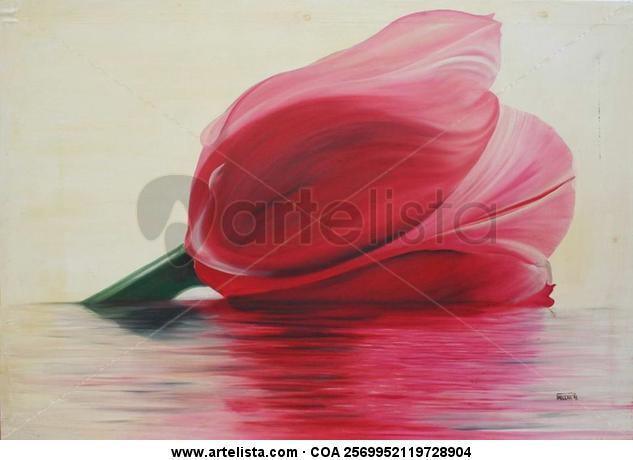 Paqui Millán: tulipán Canvas Oil Floral Painting