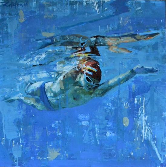 Nadando Marina Óleo Tabla