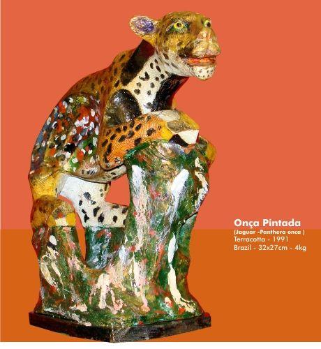 Onça Pintada - 1991 Figurative Terracotta