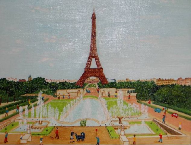Torre Eiffel.Paris De vidriera Lienzo Paisaje