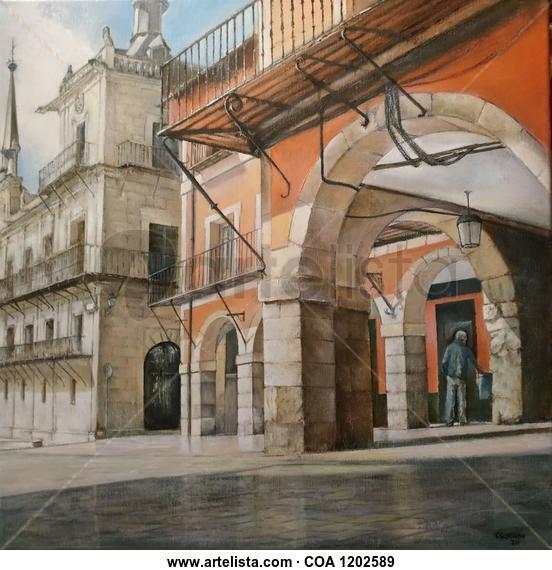 Plaza Mayor-León Paisaje Óleo Lienzo