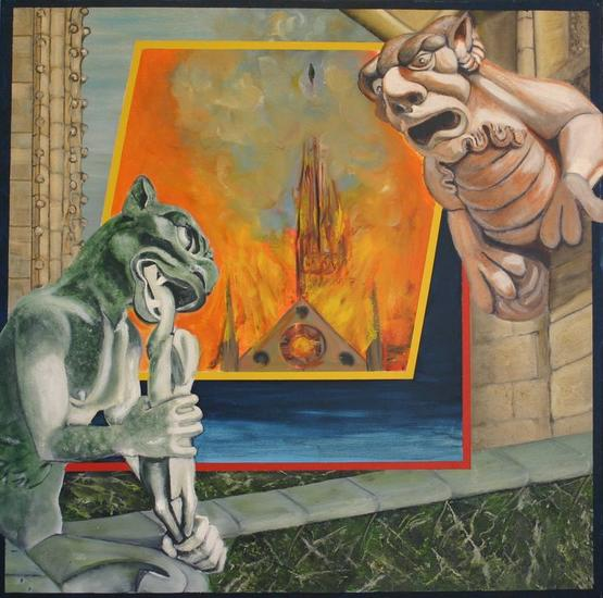 Burning Notre Dame 2019 Figura Media Mixta Lienzo