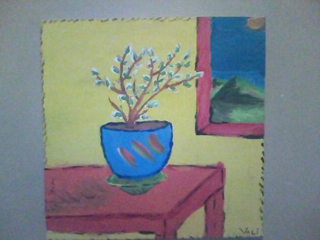 tiesto con bonsai Lienzo Acrílico Floral